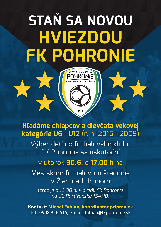 Staň sa novou hviezdou FK Pohronie! Hľadáme nových mládežníkov